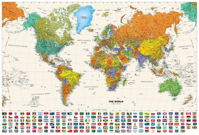 Contemporary World Wall Map with Flags Map
