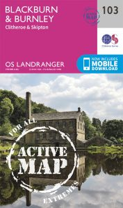 OS Landranger Active - 103 - Blackburn & Burnley, Clitheroe & Skipton