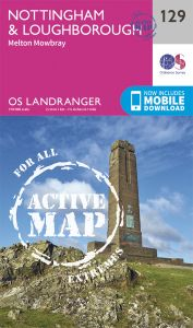 OS Landranger Active - 129 - Nottingham & Loughborough, Melton Mowbray