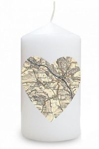Cassini Personalised Map Candles - Heart Shaped