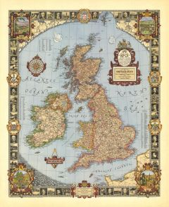 A Modern Pilgrim's Map of the British Isles - Published 1937 Map