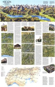 A Traveler's Map of the Alps - Published 1985 Map