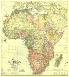 Africa Map with portions of Europe and Asia - Published 1922 Map