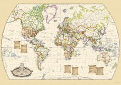Antique World Wall Map - English and French - Large Map