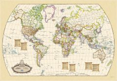 Antique World Wall Map - English and French Map