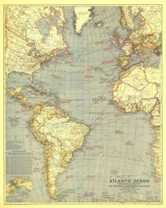 Atlantic Ocean  -  Published 1939 Map