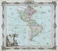 Brion de la Tour Map of North America and South America (1764) Map