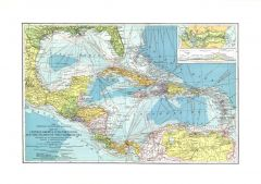 Central America, Cuba, Porto Rico, and the Islands of the Caribbean Sea - Published 1913 Map
