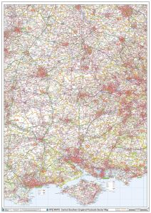 Central Southern England Postcode Sector Wall Map (S3) Map