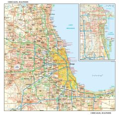 Chicago, Illinois Wall Map