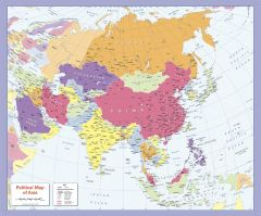 Colour blind friendly Political Wall Map of Asia Map