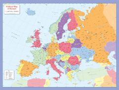 Colour blind friendly Political Wall Map of Europe Map