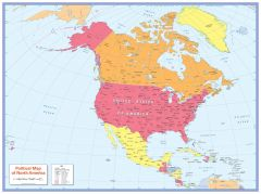Colour blind friendly Political Wall Map of North America Map
