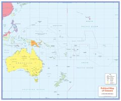 Colour blind friendly Political Wall Map of Oceania Map