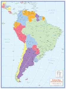 Colour blind friendly Political Wall Map of South America Map