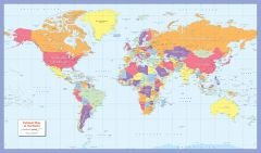 Colour blind friendly Political Wall Map of the World - Large Map