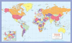 Colour blind friendly Political Wall Map of the World Map