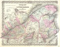 Colton Map of Canada East or Quebec (1855) Map