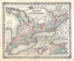 Colton Map of Upper Canada or Ontario (1855) Map
