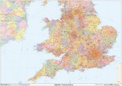 England & Wales Postcode District Wall Map (D9) Map