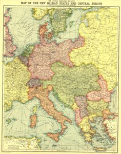Europe Map with Africa and Asia - Published 1915 Map