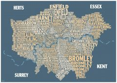 Graphic Map London - boroughs, beige background Map