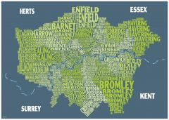 Graphic Map London - boroughs, green background Map