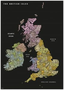 Graphic Map UK - counties, black background Map