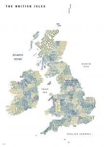 Graphic Map UK - counties, white background Map