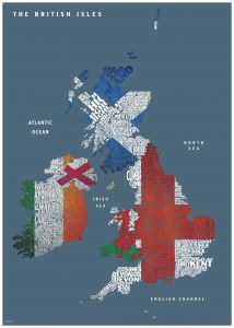 Graphic Map UK - flags Map