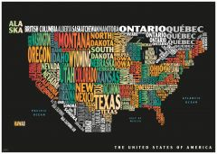 Graphic Map USA - colours, black background Map