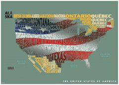 Graphic Map USA - flag Map