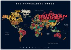 Graphic Map World - colours, black background Map