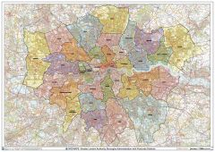 Greater London Authority Boroughs with Postcode Districts Wall Map