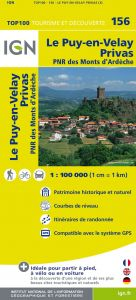 IGN Top 100 - Le-Puy-en-Velay / Privas / Mende PNR Monts Ardeche