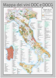 Italy DOC and DOCG Wines Wall Map - English and Italian Map