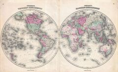 Johnson Map of the World on Hemisphere Projection (1862) Map