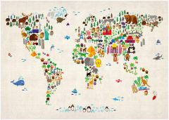 Kids Animal Map of the World Map