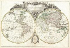 Lattre and Janvier Map of the World on a Hemisphere Projection (1775) Map