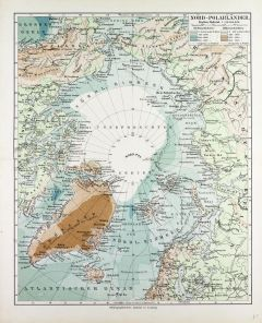 Map of Countries Around the North Pole in German (1899) Map