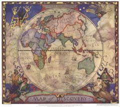 Map of Discovery, Eastern Hemisphere - Published 1928 Map