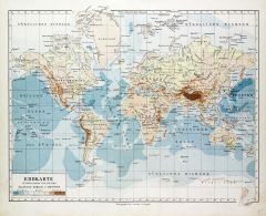 Map of the World in German (1899) Map