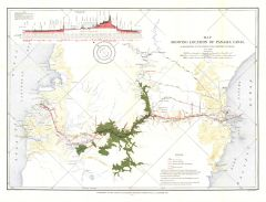 Map Showing Location of Panama Canal 1899-1902 - Published 1905 Map