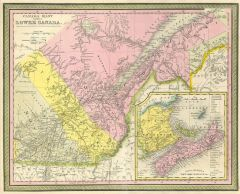 Mitchell Map of Eastern Canada including Quebec (1850) Map