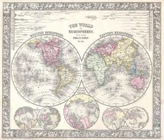Mitchell Map of the World on Hemisphere Projection (1864) Map