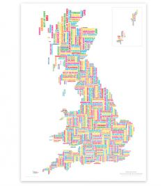 ST&G's Marvellous Map Of Great British Place Names - New School Classic (A2)