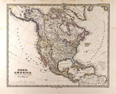 North America Map in German - Gotha Justus Perthes 1872 Atlas Map