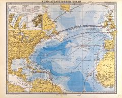 North Atlantic Ocean Map in German - Gotha Justus Perthes 1872 Atlas Map