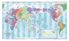 Pacific Centred Time Zone Wall Map of the World - Large Map