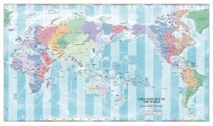 Pacific Centred Time Zone Wall Map of the World Map
